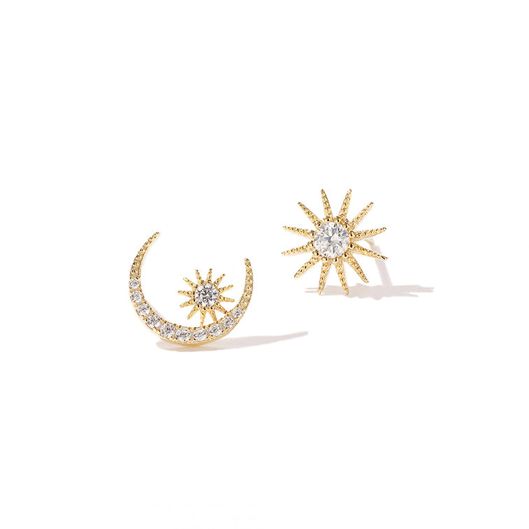Moon and Star Mismatched Studs
