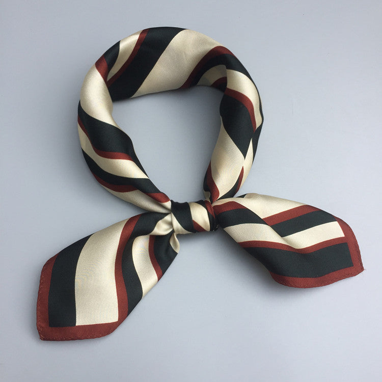 Red and Navy Stripe Square Silk Scarf