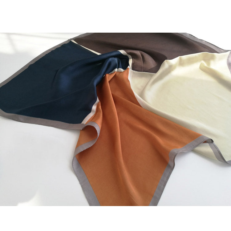 4 Tone Color-block Silk Scarf