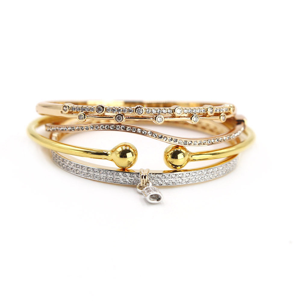 Rose Gold CZ Pave Bangle With Lock Charm