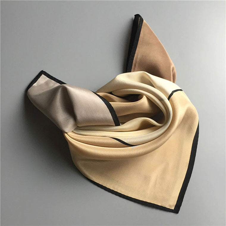 Color Block Silk Scarf-Camel