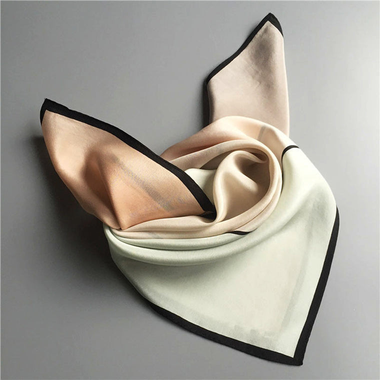 COLOR BLOCK SILK SCARF-Mint