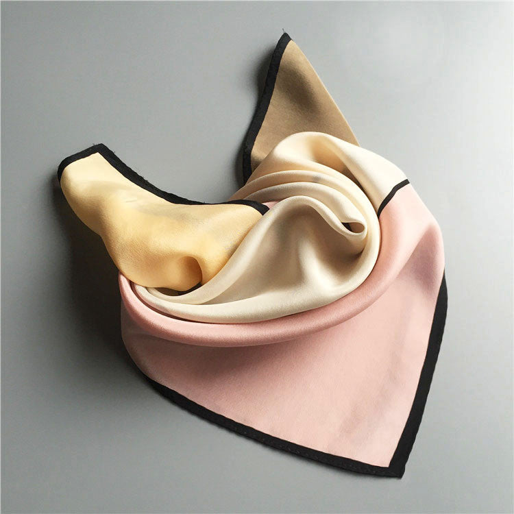 COLOR BLOCK SILK SCARF-Pink