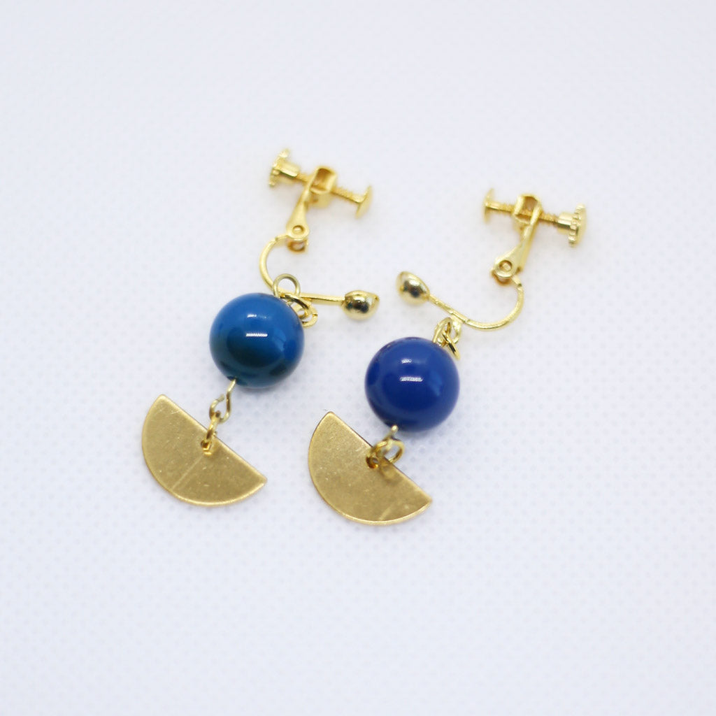 Asymmetrical Geometric Blue Agate Earrings