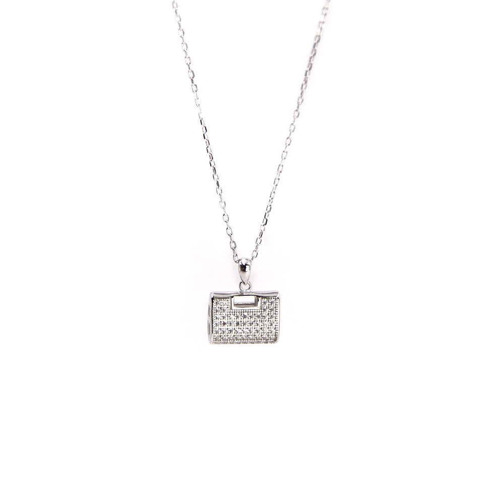 Clutch Silver Pave Necklace