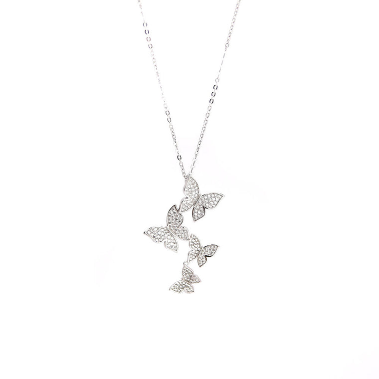 Butterflies Silver Pendant Necklace