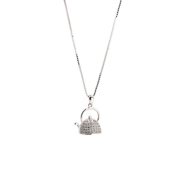 Tea Pot CZ Pendant Silver Necklace
