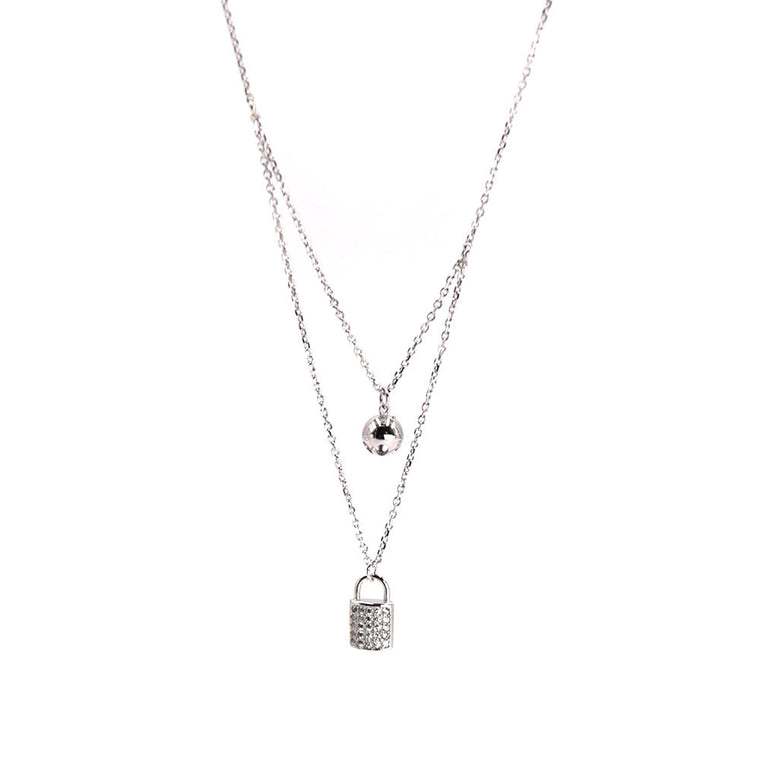 Pave Padlock Layered Necklace