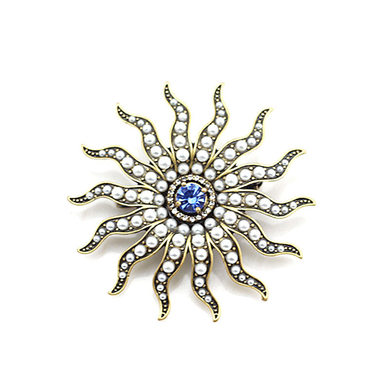 Pearl and Blue Sapphire Sun Brooch