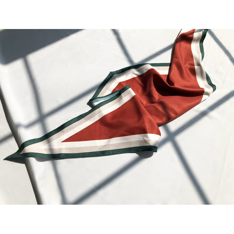 Rhombus Shaped scarf -Red, White, Forrest