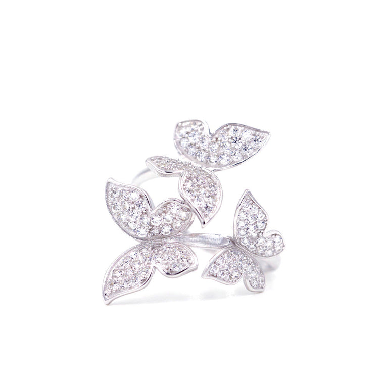3 butterflies diamond cocktail ring