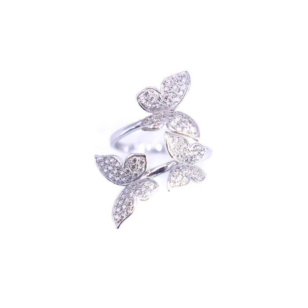 3 Butterflies Pave CZ ring