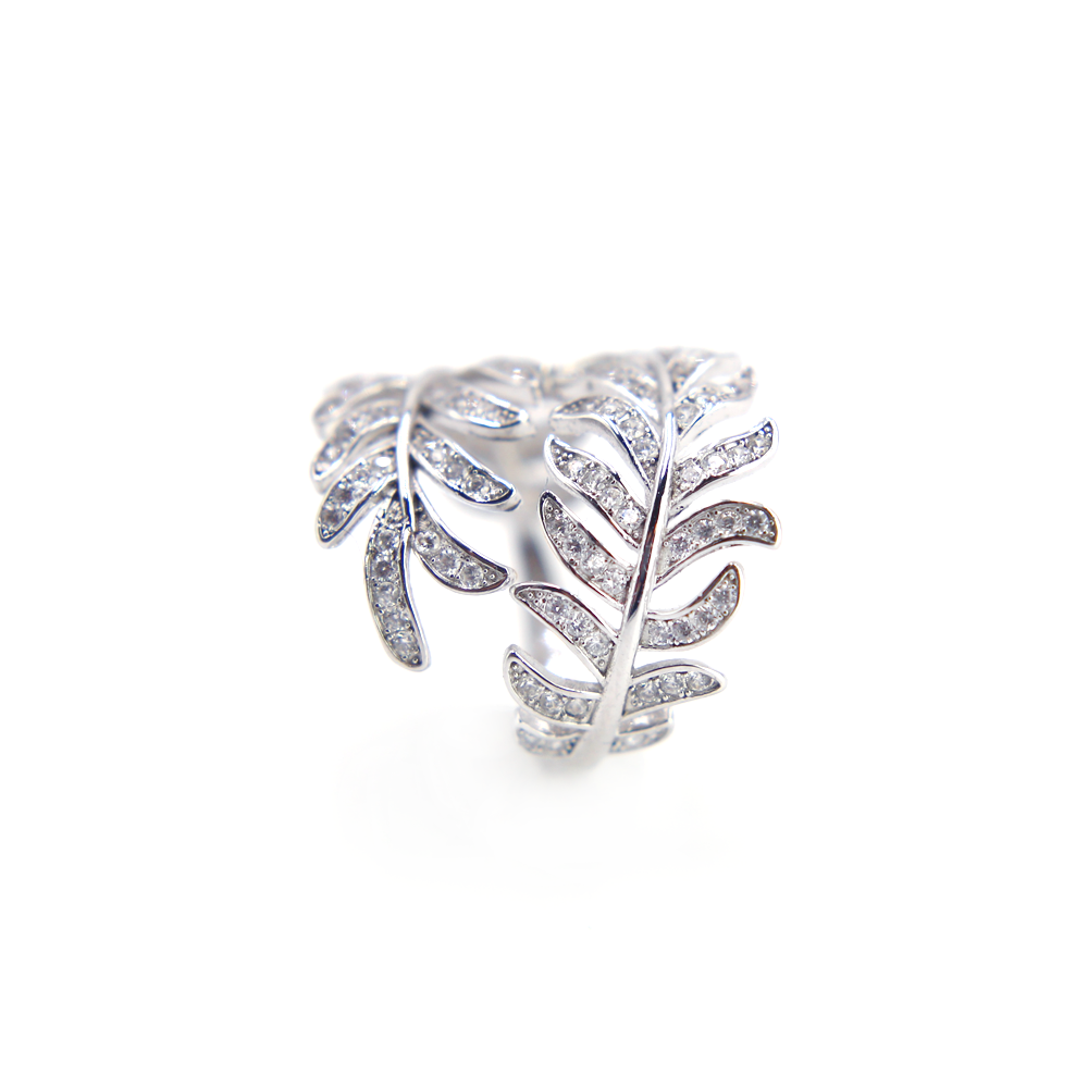 Sparkling Leaves Clear CZ Ring