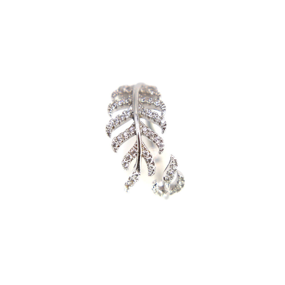 Adjustable Silver Leaf Feather Wrap Ring