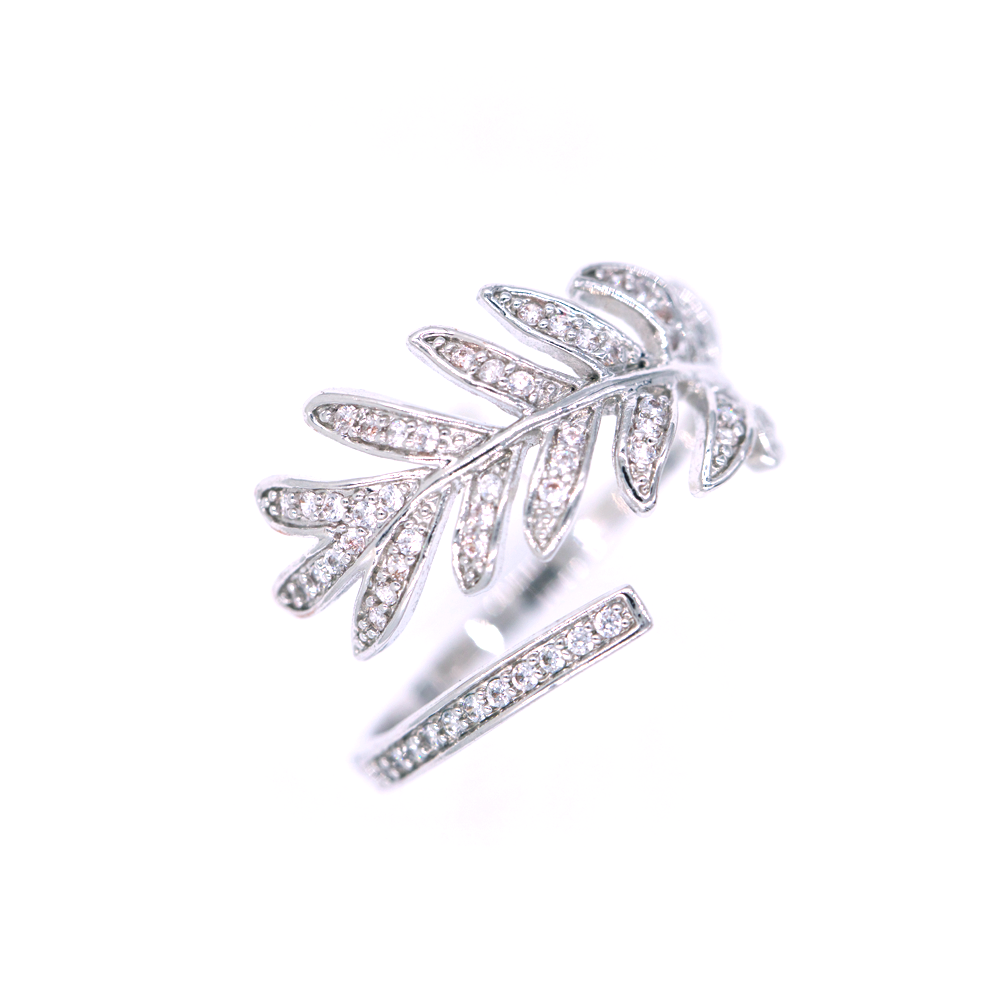 Silver Palm Leaf CZ Ring
