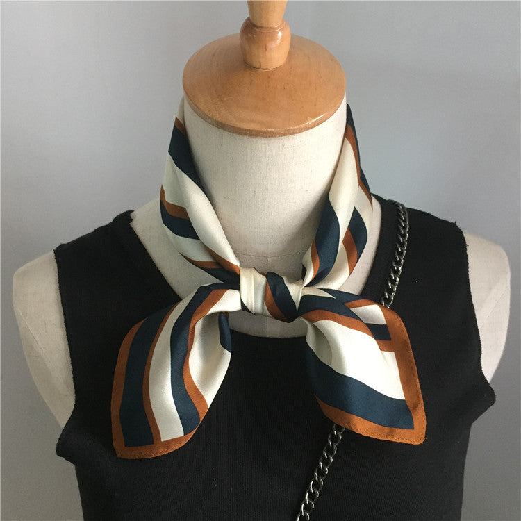 Yellow and Navy Stripe Square Silk Scarf
