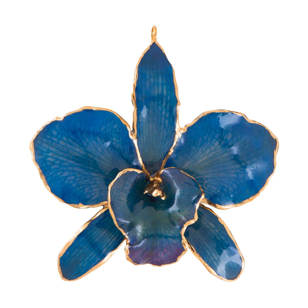 Blue Real Cattleya Orchid Ornament Front Side