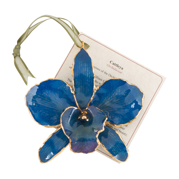 Blue<br>Real Cattleya Orchid Ornaments<br>Trimmed in Gold<br>Ribbon and Hang Tag - GoldRoses.com