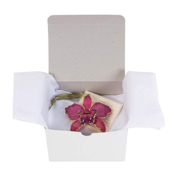 Fuchsia<br>Real Cattleya Orchid Ornaments<br>Trimmed in Gold<br>Gift Boxed - GoldRoses.com