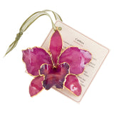 Fuchsia Real Cattleya Orchid Ornament with Green Ribbon and Hang Tag