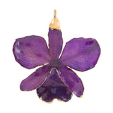Purple<br>Real Cattleya Orchid Ornaments<br>Trimmed in Gold<br>Orchid Ornament Only - GoldRoses.com