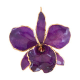 Purple<br>Real Cattleya Orchid Ornaments<br>Trimmed in Gold<br>Gift Boxed - GoldRoses.com