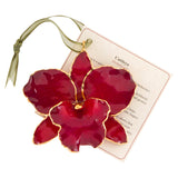 Red<br>Real Cattleya Orchid Ornaments<br>Trimmed in Gold<br>Gift Boxed - GoldRoses.com