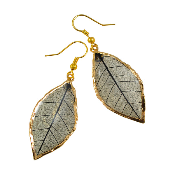 Black Rubber Tree Leaf Earrings with Gold French Hooks
