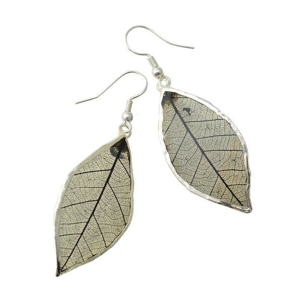 Black Rubber Tree Leaf Earrings with Silver French Hooks