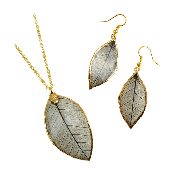 Black<br>Rubber Tree Leaf Earrings & Pendant<br>with Gold 18 Inch Chain<br>Gift Boxed - GoldRoses.com