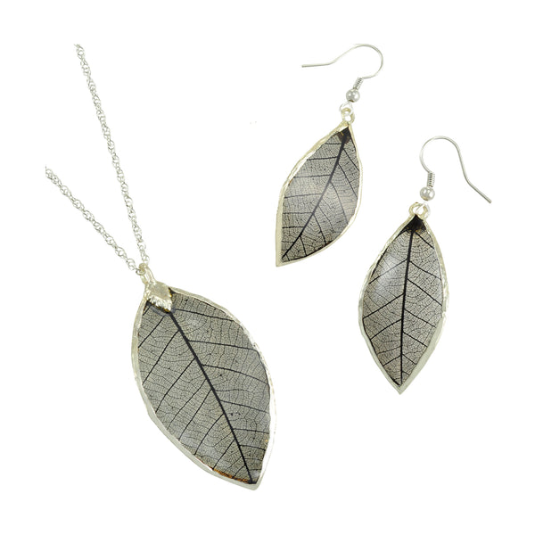 Black<br>Rubber Tree Leaf Earrings & Pendant<br>with Silver 18 Inch Chain<br>Gift Boxed - GoldRoses.com