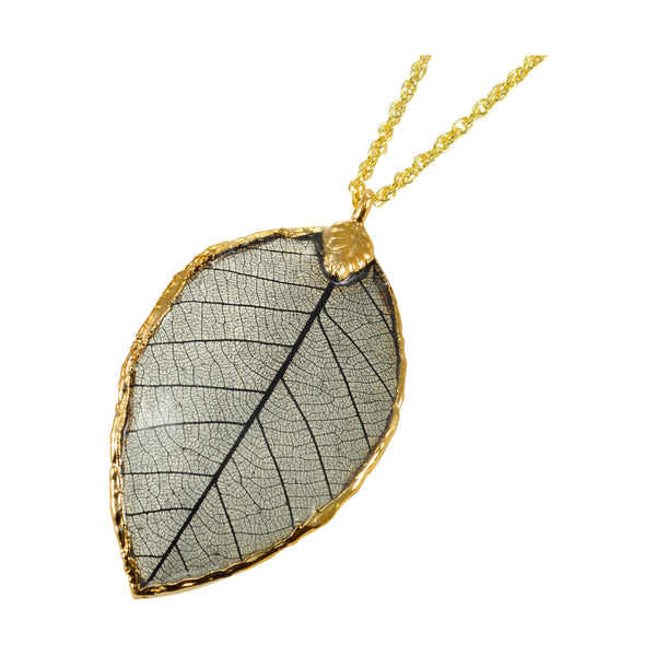 Black Rubber Tree Leaf Pendant with Gold 18 Inch Chain
