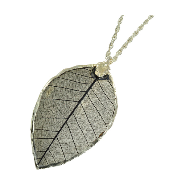Black Rubber Tree Leaf Pendant with Silver 18 Inch Chain