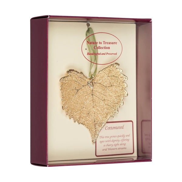 Cottonwood<br>Real Leaf Ornaments<br>Dipped in 24k Gold<br>Comes Gift Boxed - GoldRoses.com