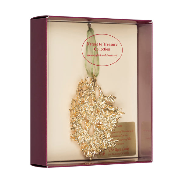 Cypress<br>Real Leaf Ornaments<br>Dipped in 24k Gold<br>Comes Gift Boxed - GoldRoses.com
