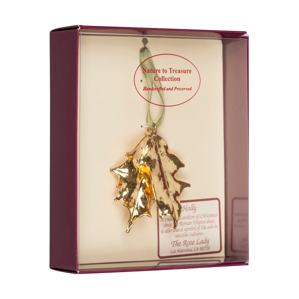 Double Holly Leaf<br>Real Leaf Ornaments<br>Dipped in 24k Gold<br>Comes Gift Boxed - GoldRoses.com