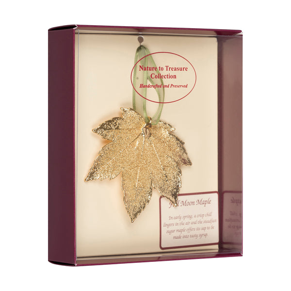 Full Moon Maple Real Leaf Ornaments Dipped in 24k Gold - Comes Gift Boxed