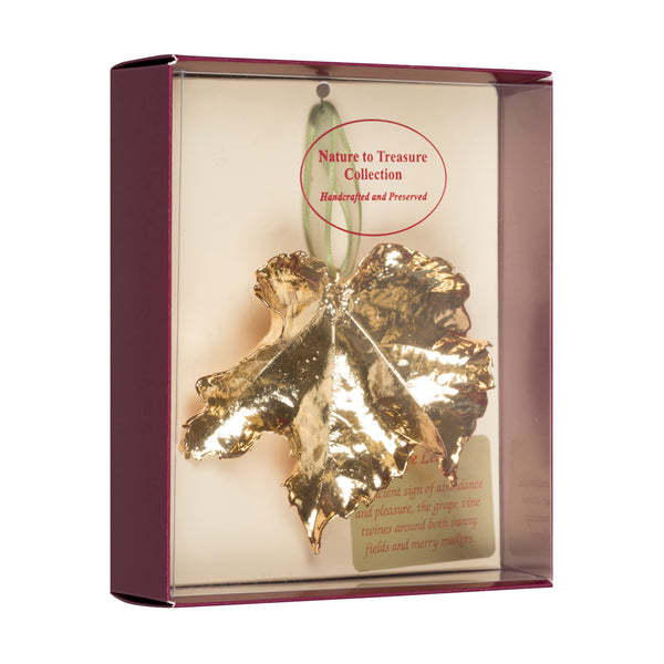 Grape<br>Real Leaf Ornaments<br>Dipped in 24k Gold<br>Comes Gift Boxed - GoldRoses.com