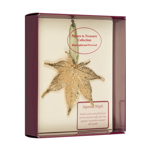 Japanese Maple<br>Real Leaf Ornaments<br>Dipped in 24k Gold<br>Comes Gift Boxed - GoldRoses.com