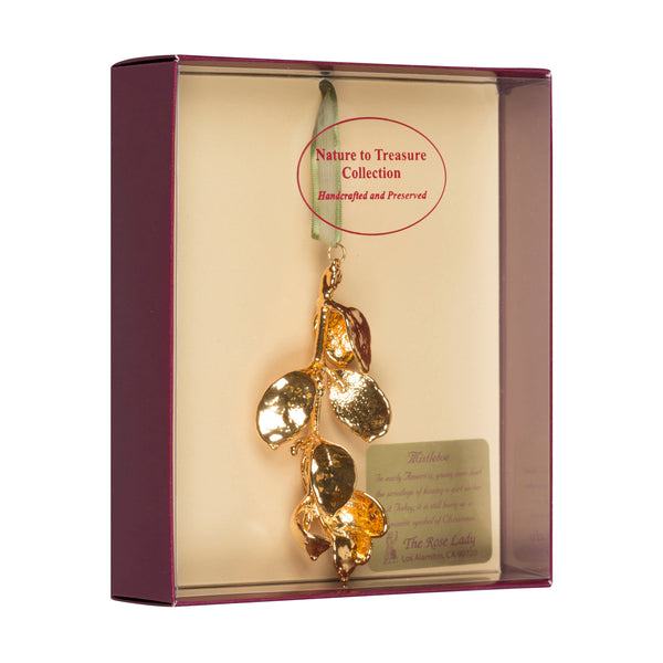 Mistletoe<br>Real Leaf Ornaments<br>Dipped in 24k Gold<br>Comes Gift Boxed - GoldRoses.com