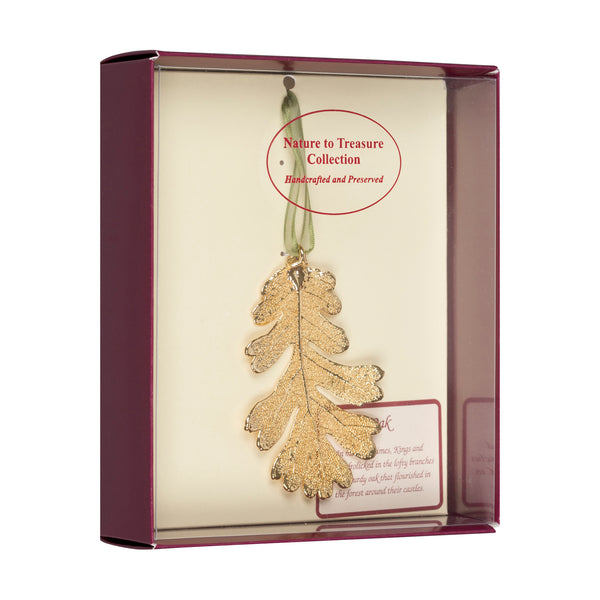 Oak<br>Real Leaf Ornaments<br>Dipped in 24k Gold<br>Comes Gift Boxed - GoldRoses.com