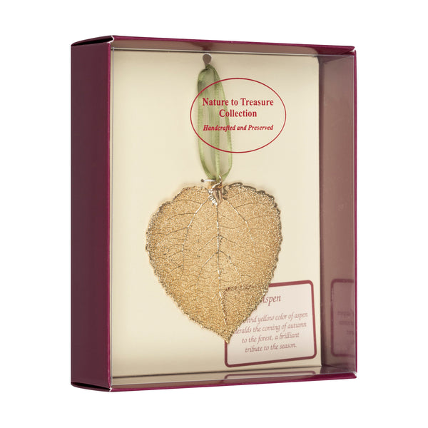 Aspen<br>Real Leaf Ornaments<br>Dipped in 24k Gold<br>Comes Gift Boxed - GoldRoses.com