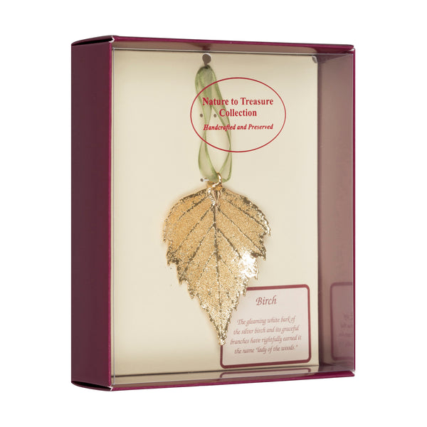 Birch<br>Real Leaf Ornaments<br>Dipped in 24k Gold<br>Comes Gift Boxed - GoldRoses.com
