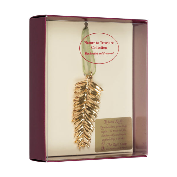 Redwood Needles<br>Real Leaf Ornaments<br>Dipped in 24k Gold<br>Comes Gift Boxed - GoldRoses.com