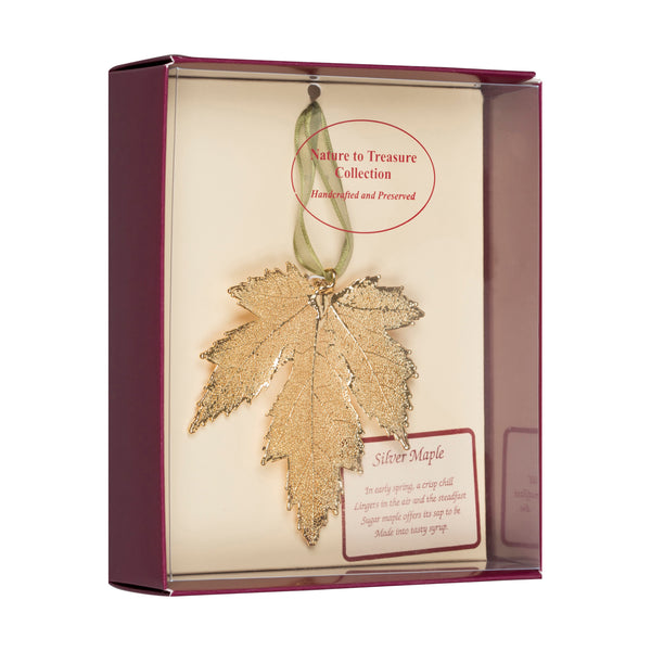 Silver Maple<br>Real Leaf Ornaments<br>Dipped in 24k Gold<br>Comes Gift Boxed - GoldRoses.com