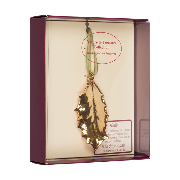 Single Holly Leaf<br>Real Leaf Ornaments<br>Dipped in 24k Gold<br>Comes Gift Boxed - GoldRoses.com