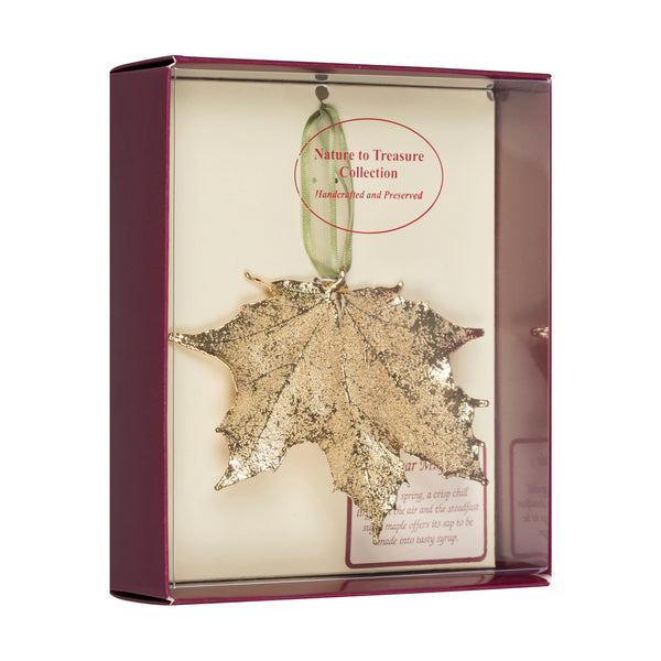 Sugar Maple Real Leaf Ornaments Dipped in 24k Gold Comes Gift Boxed