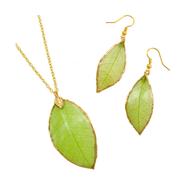 Green<br>Rubber Tree Leaf Earrings & Pendant<br>with Gold 18 Inch Chain<br>Gift Boxed - GoldRoses.com