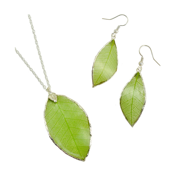 Green<br>Rubber Tree Leaf Earrings & Pendant<br>with Silver 18 Inch Chain<br>Gift Boxed - GoldRoses.com