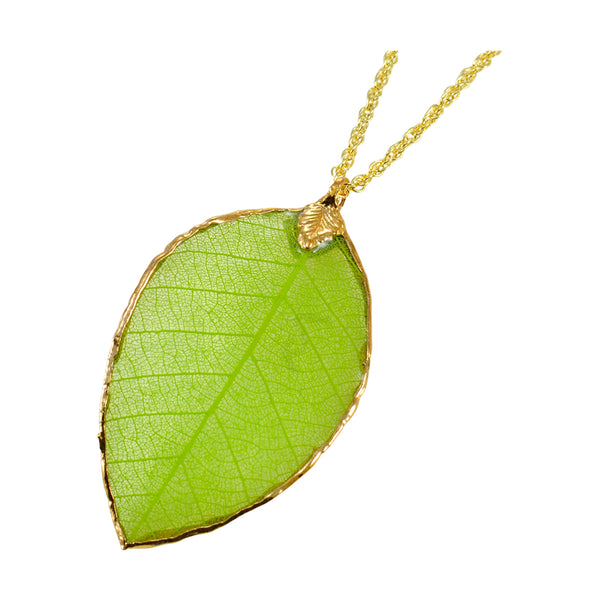 Green Rubber Tree Leaf Pendant with Gold 18 Inch Chain